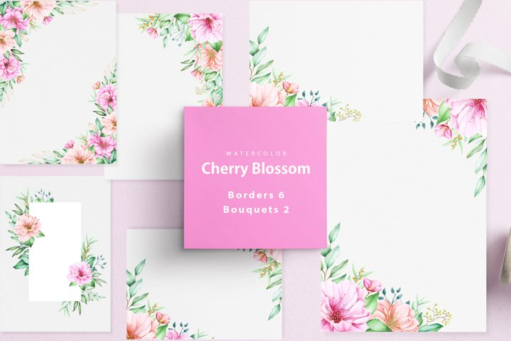 cherry blossom borders and bouquets variation set