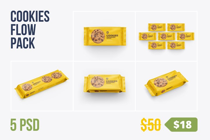 Cookies. Flow Pack Mockup. 5 PSD