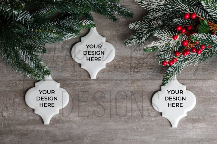 Arabesque Tile Christmas Ornament Mockup