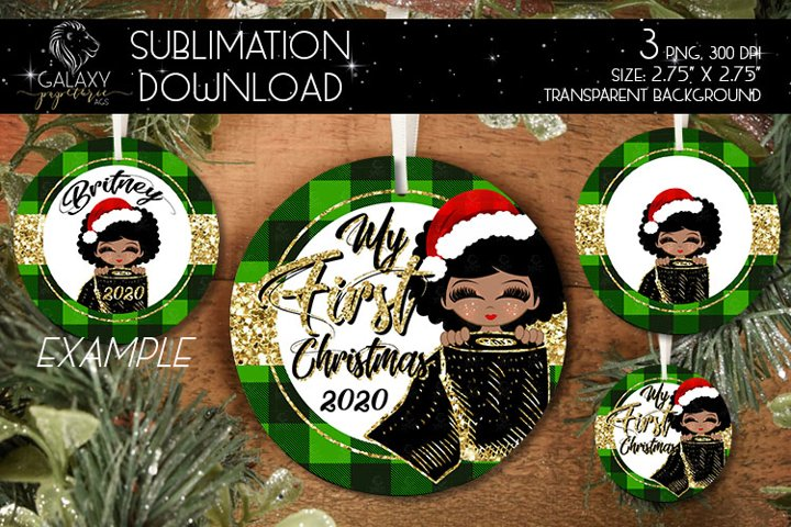 My First Christmas, Christmas Ornament Sublimation Template
