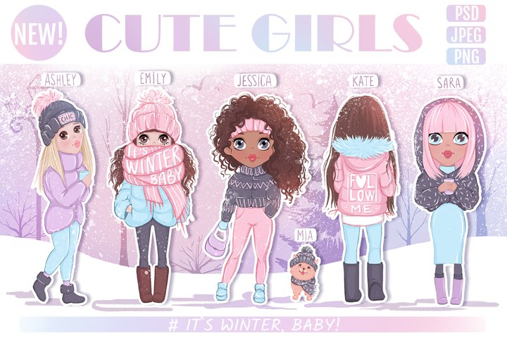 Cute girls. Winter llustrations.