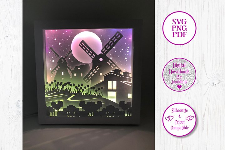 Windmill - 3D Paper Cut Shadow Box