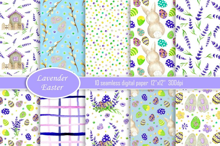 Easter digital paper, Easter Watercolor seamless pattern
