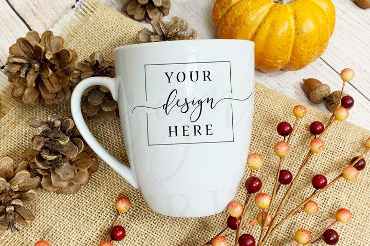 Thanksgiving Fall Mug Mockup In Rustic Farm House Style
