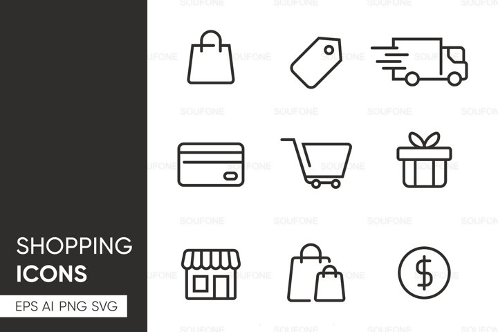 Set of Shopping E-commerce Icon - SVG AI EPS PNG