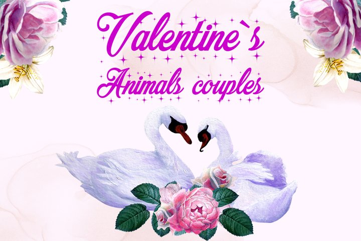 Valentines animal couple clipart