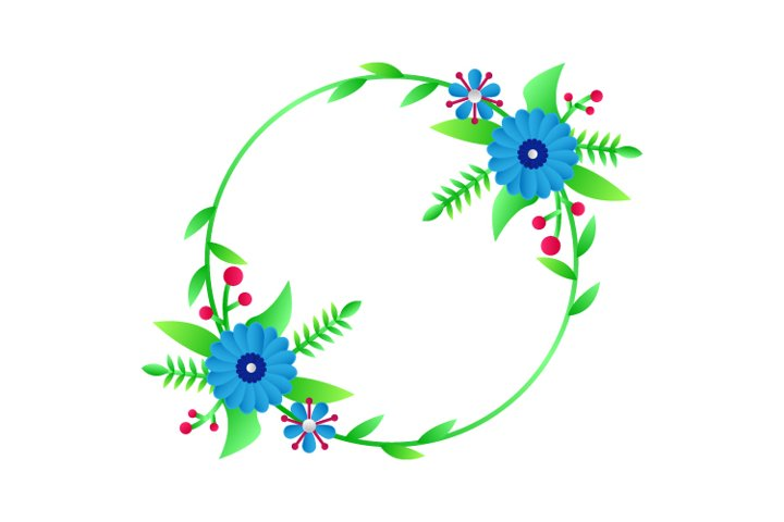 Modern Circle Frame Floral Template 02 Graphic