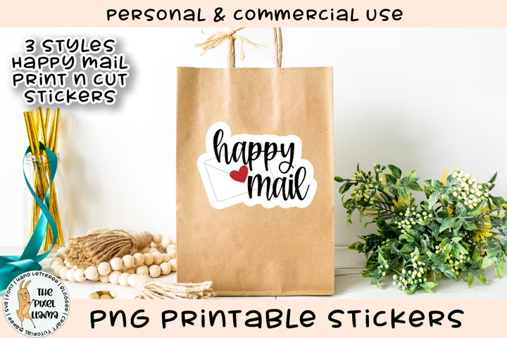 Happy Mail PNG Printable Stickers