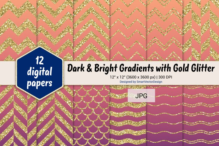 Chevron, Scales, & Waves - Gradients with Gold Glitter #59