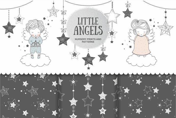 Two angels boy and girl with stars in hand drawn style