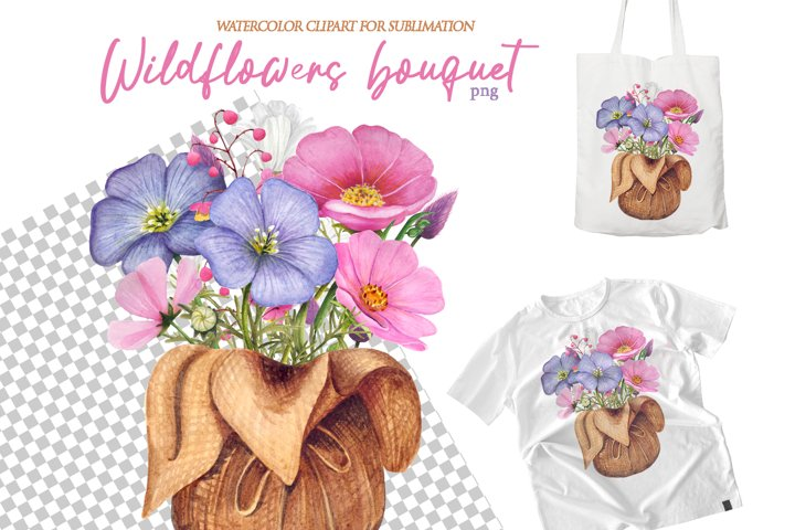 Watercolor Wildflower Floral bouquet png for sublimation