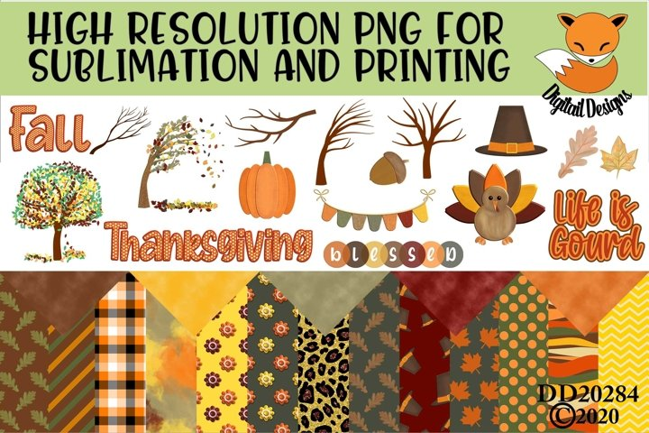 Fall Elements and Paper Sublimation Scrapbooking Bundle