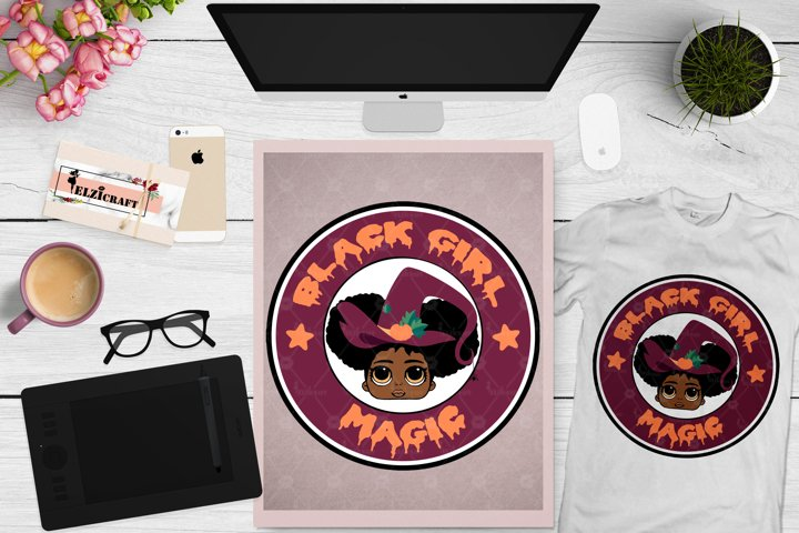 Black Girl Magic Halloween, Cute Afro Girl, Witch Hat SVG
