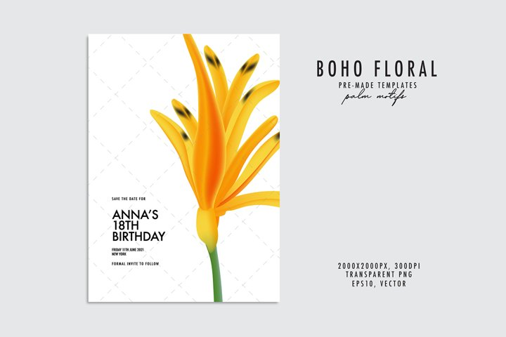 Yellow flower watercolor plant birthday card template