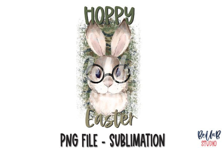 Hoppy Easter Sublimation Design, Camo Bunny with Glasses