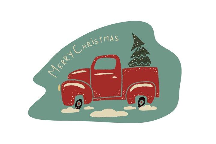 Vintage christmas cartoon truck pickup