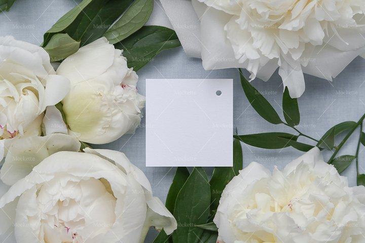 Wedding Stationery Mockup - Tag - Blue Peonies
