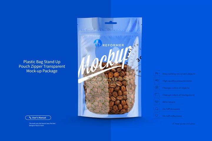 Plastic Bag Stand Up Pouch Zipper Transparent Mock-up