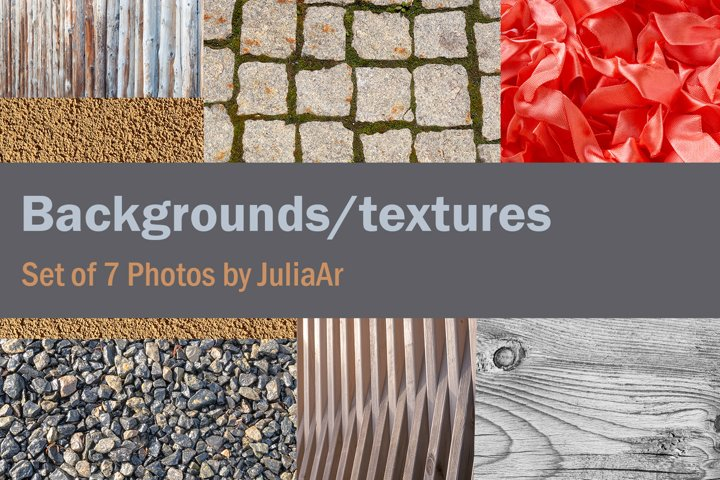 Set of 7 Photos with universal backgrounds