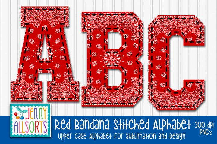 Stitched Red Bandana Alphabet Bundle for sublimation, Design