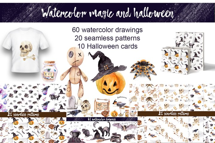 Watercolor horror, magic and Halloween