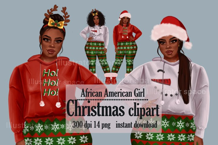 African Amrican girl clipart, Plus size girl clipart, Xmas