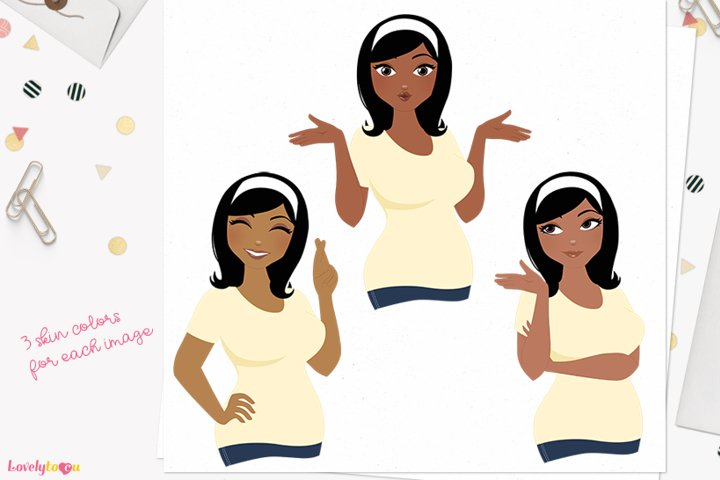 Female expression poses character clipart L450 Wendy