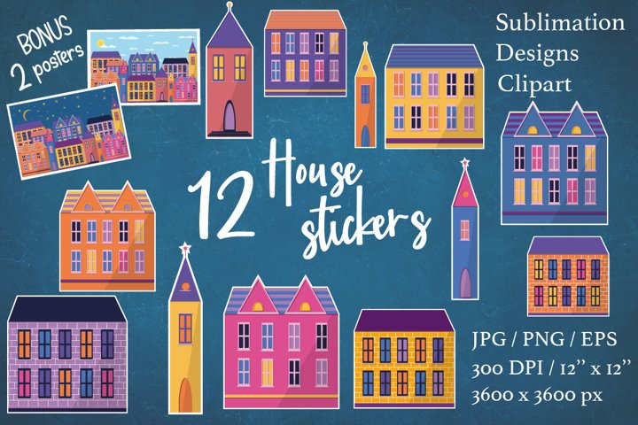 House stickers. House sublimation clipart.