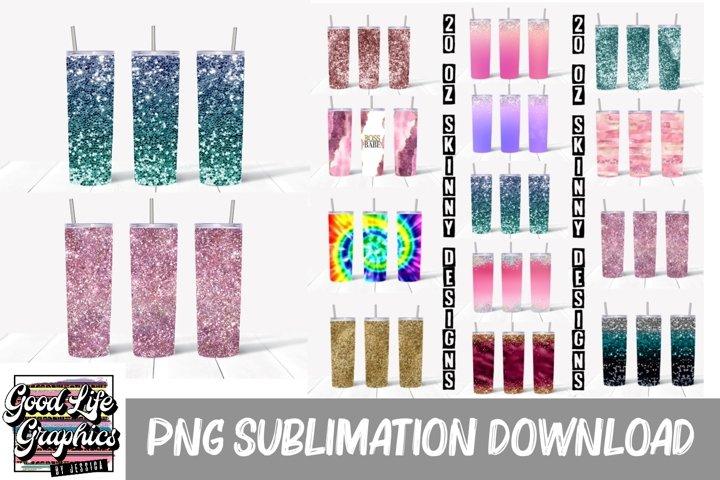20oz skinny tumbler sublimation design bundle-PNG 13 designs