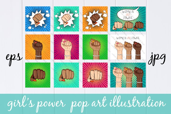 Woman power, girl power pop art illustration, feminism set