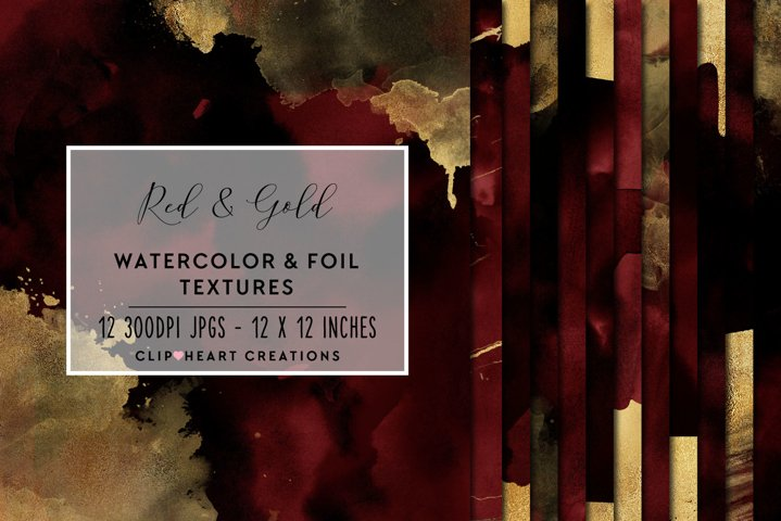 Red & Gold Watercolor and Foil Papers