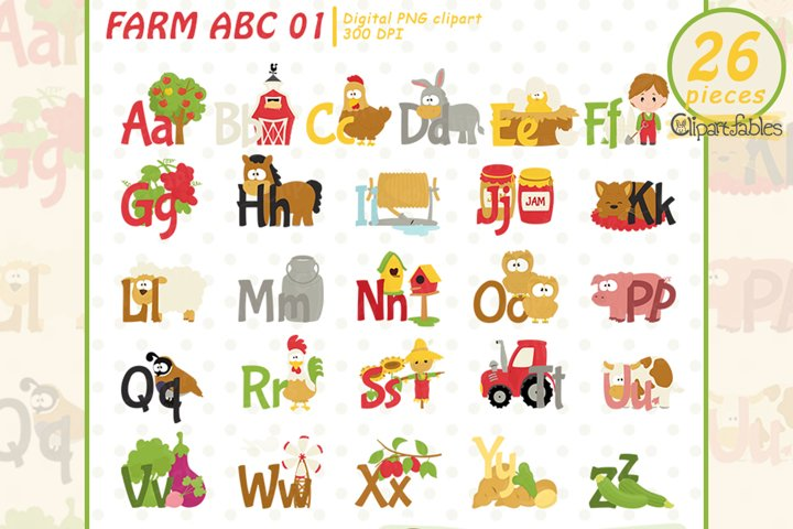 FARM ALPHABET clipart, BarnyardABC, Education for kids