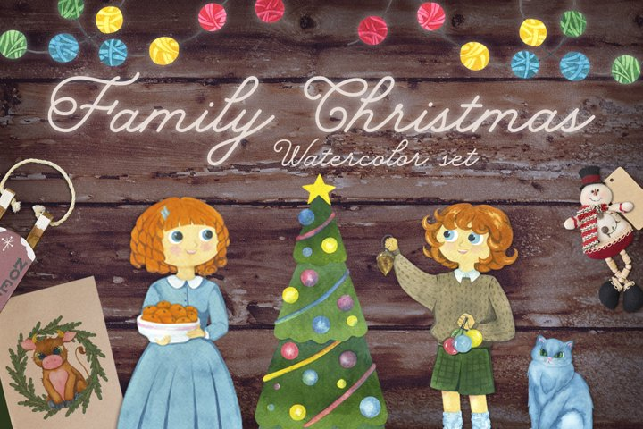 Family Christmas. Set of watercolor elements.
