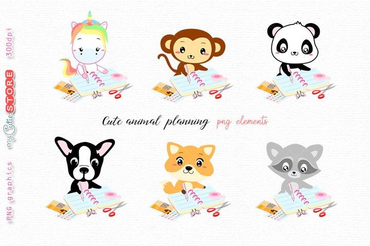 Colleciont of kawaii animals planning unicorn panda monkey