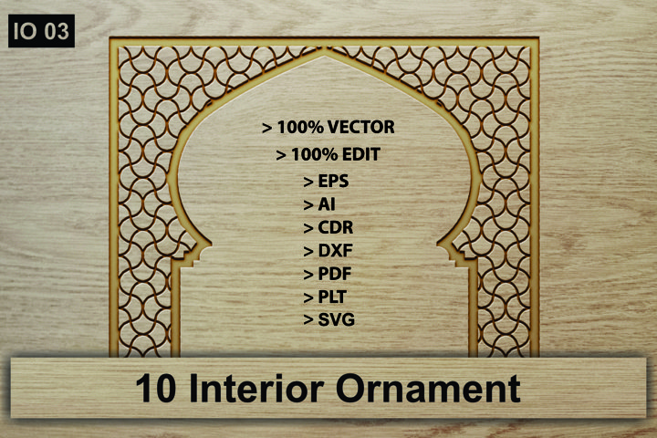 IO 03, 10 Interior Ornament Vector Cutting Crafts