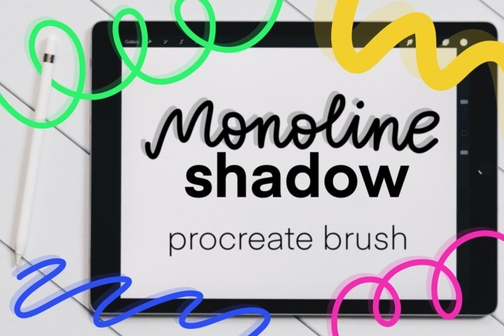 Monoline Shadow Procreate brush. Perfect for iPad lettering.