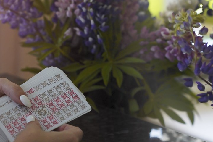 Tarot cards and Lupin flowers.
