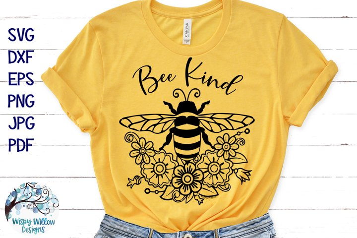Bee Kind SVG | Floral Bee SVG Cut File