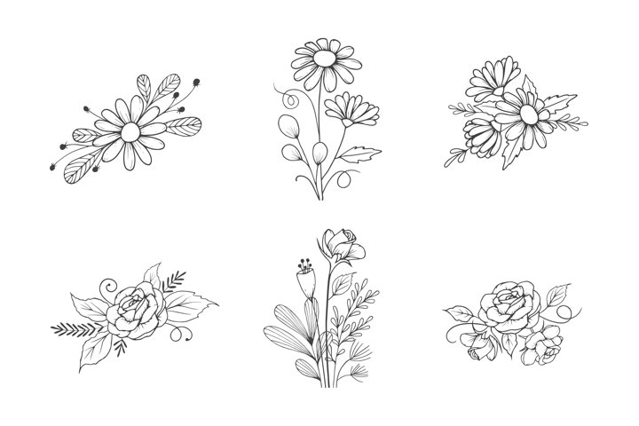 Hand Drawn Flower Bouquet Collection in Outline Style