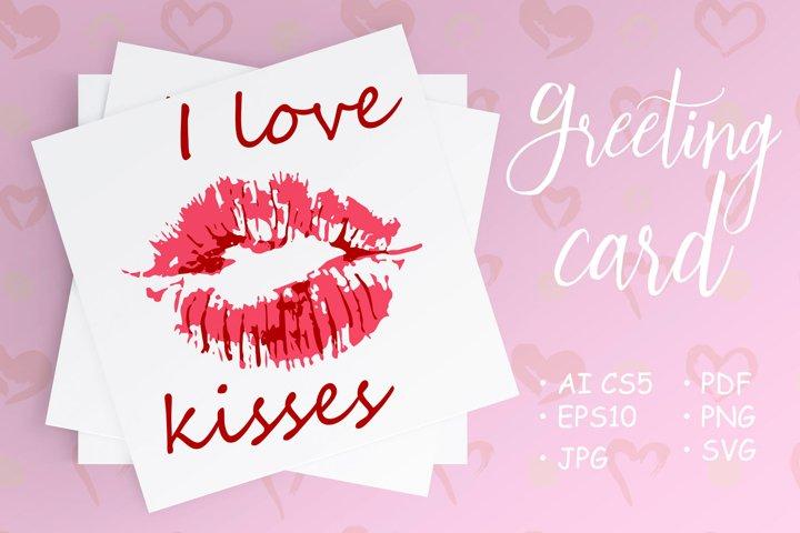 Postcard with a kiss, lipstick. I love kisses