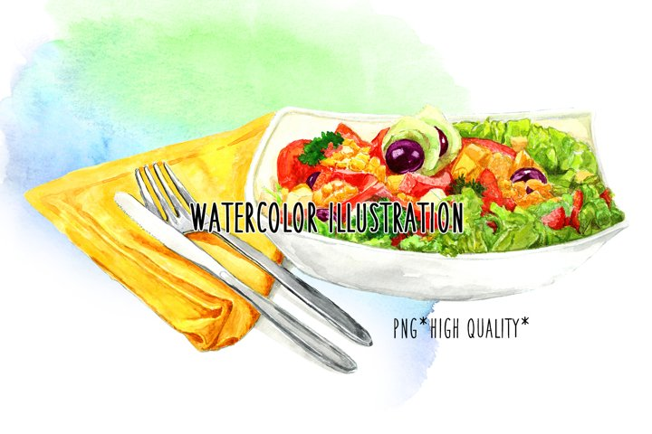 Food on a plate. Watercolors