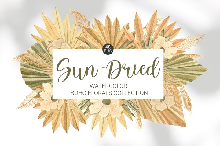 Watercolor dried boho florals clipart. Palm leaves bouquets.