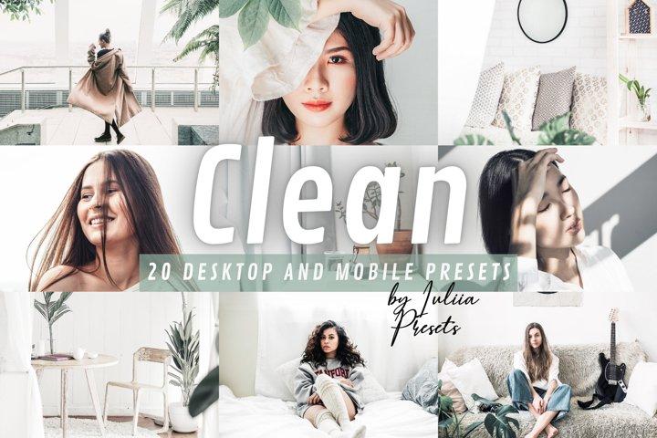 20 CLEAN Lightroom Presets for Mobile & Desktop app