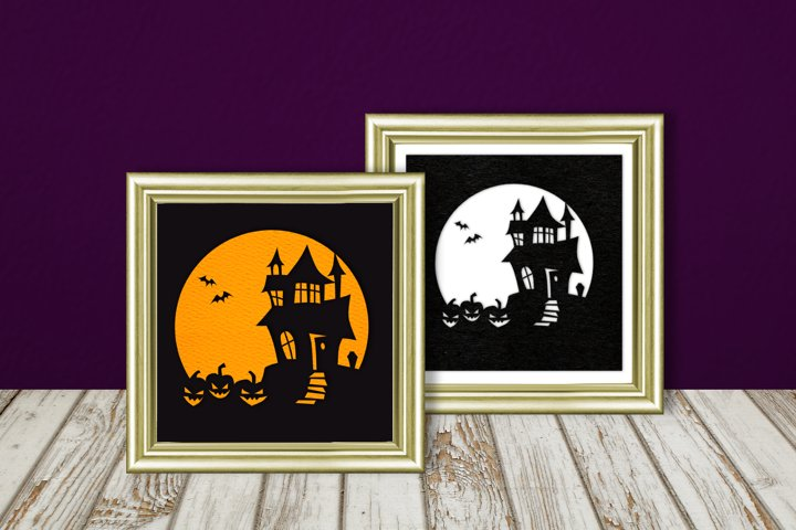 Halloween Haunted House Silhouette SVG Design