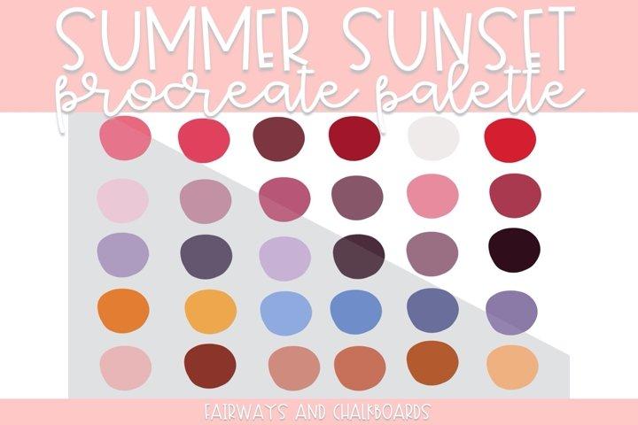 Summer Sunset Procreate Palette