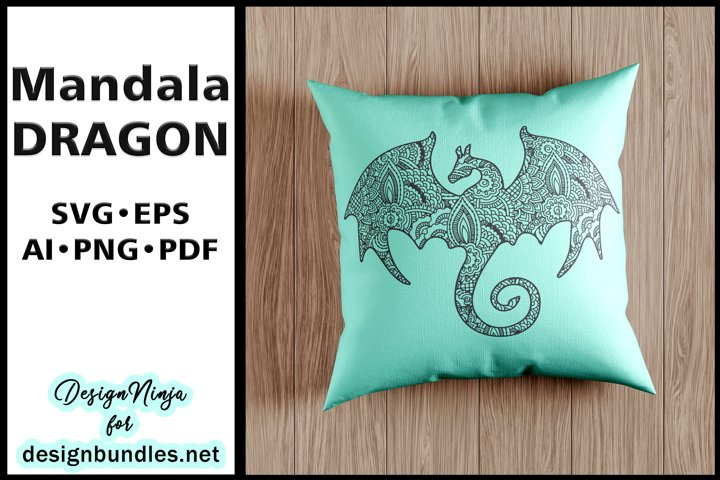 Mandala Dragon design. Zentangle Flying Dinosaur