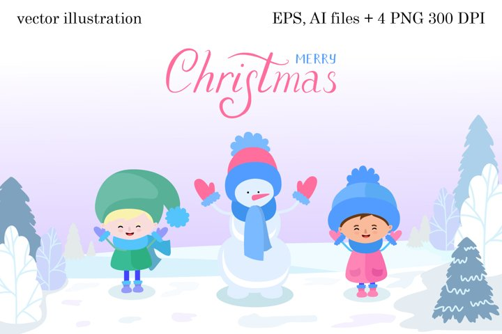 Snowman and kids illustration PNG, EPS, Ai files