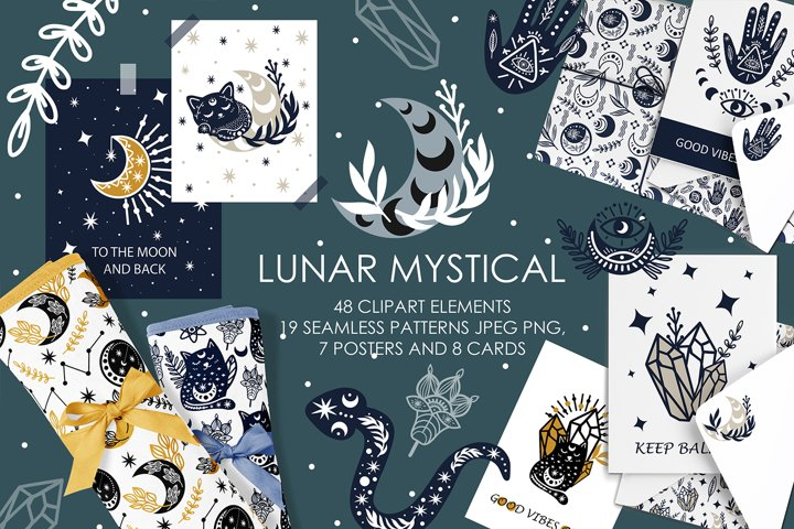 Lunar mystical clipart & patterns, abstract moon printable