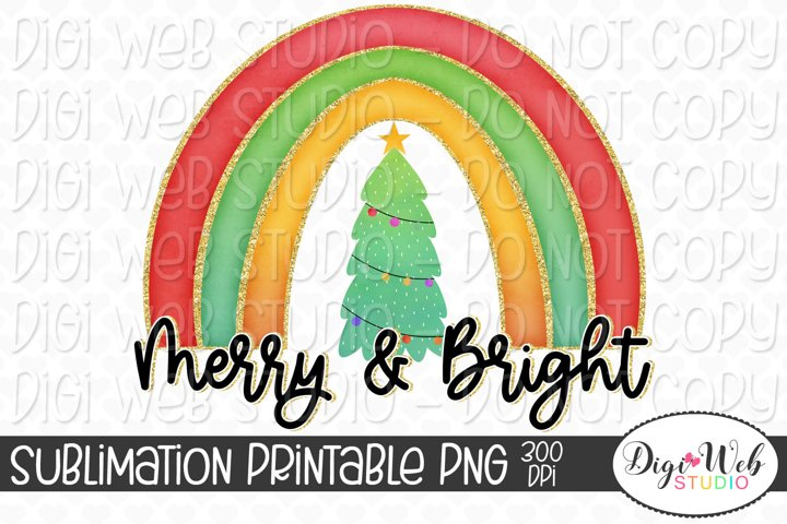 Merry and Bright Rainbow Christmas Sublimation Design