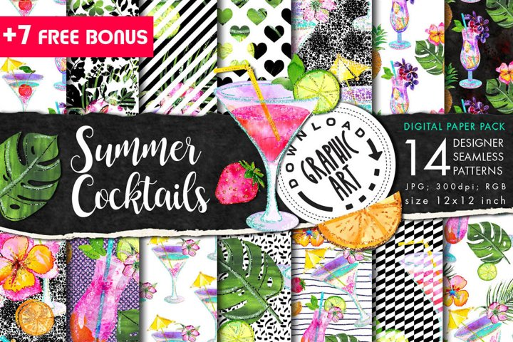 Summer Cocktails Seamless Pattern